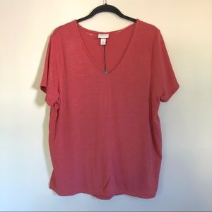 Ava & Viv Tunic Knit Top One Size X Pink VNeck NWT